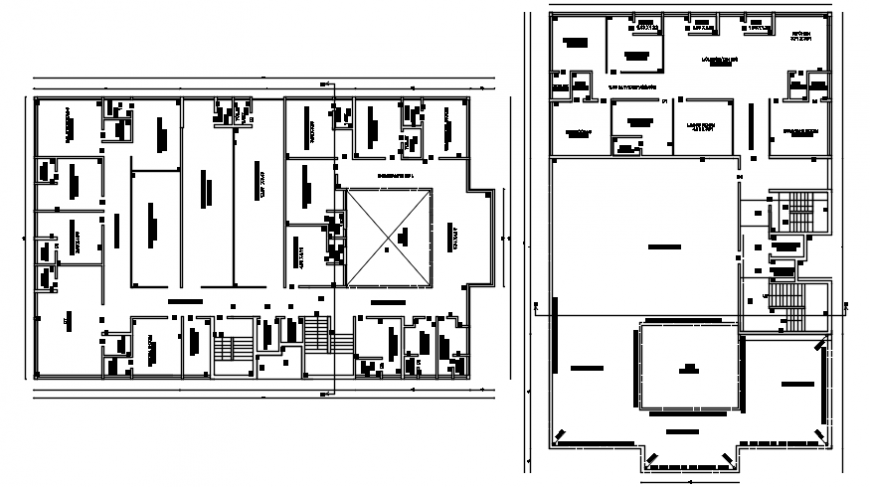 top view layout plan of a office details dwg