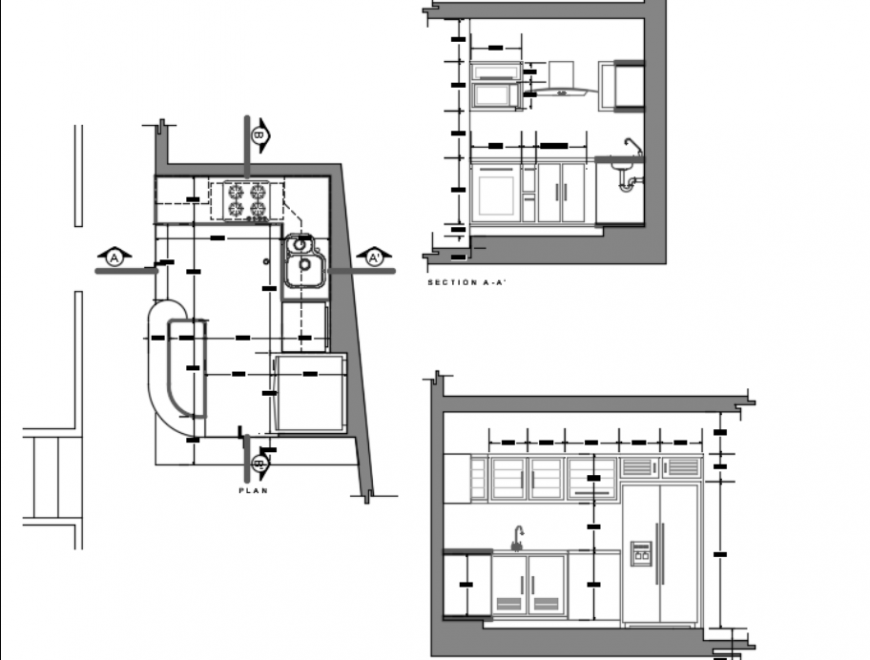 Top view layout plan of kitchen