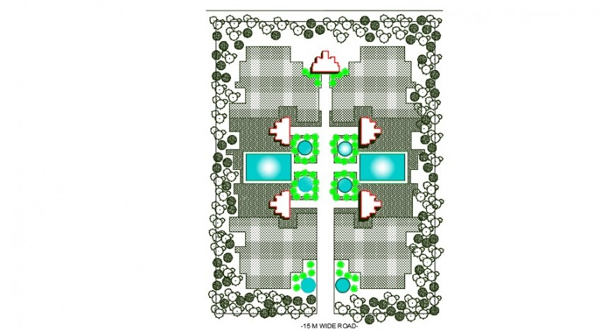 Top view layout plan of road and landscaping dwg file