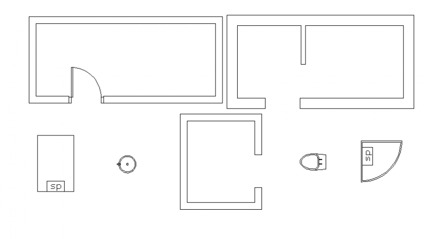 Top view layout plan of toilet 2d