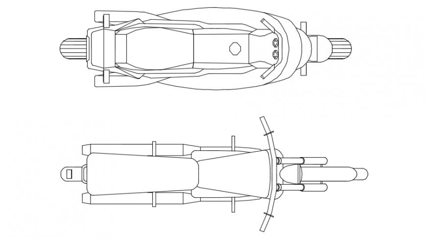 Top view model of a motor bike