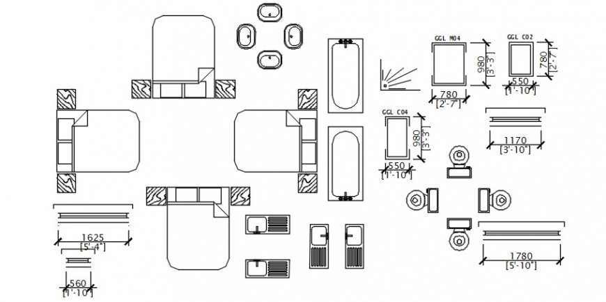 Top view of beds and other furniture 2d details