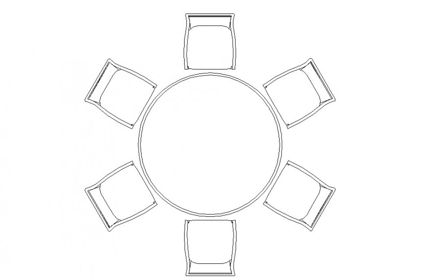 Top view of dining table with back rest design dwg file