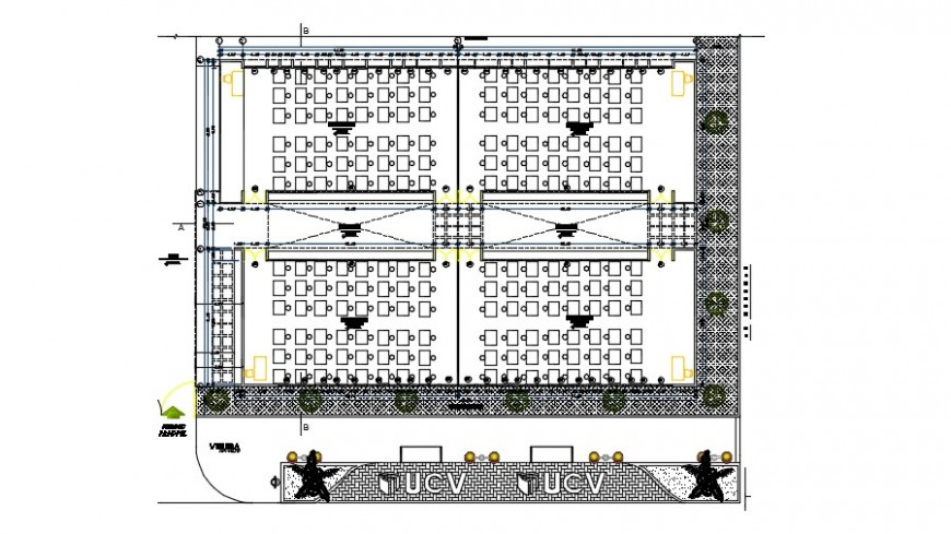 Top view of plan classroom detail dwg file