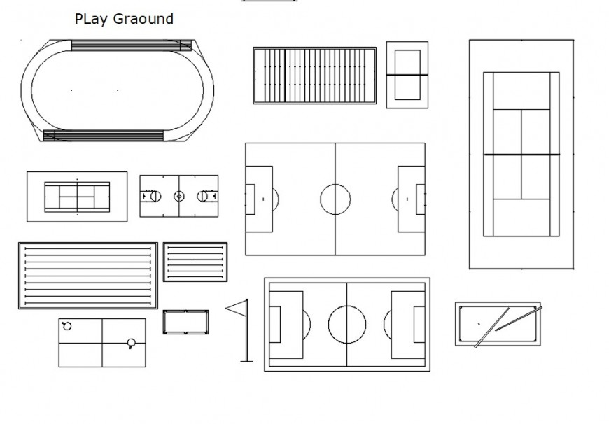 top view of play ground cad file