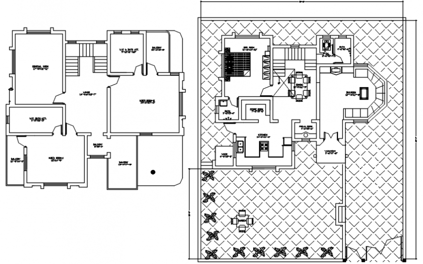 Top view of residence house design autocad file