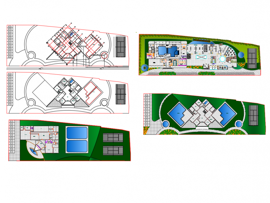 Top view of Resort elevation design and drawing dwg file, autocad format