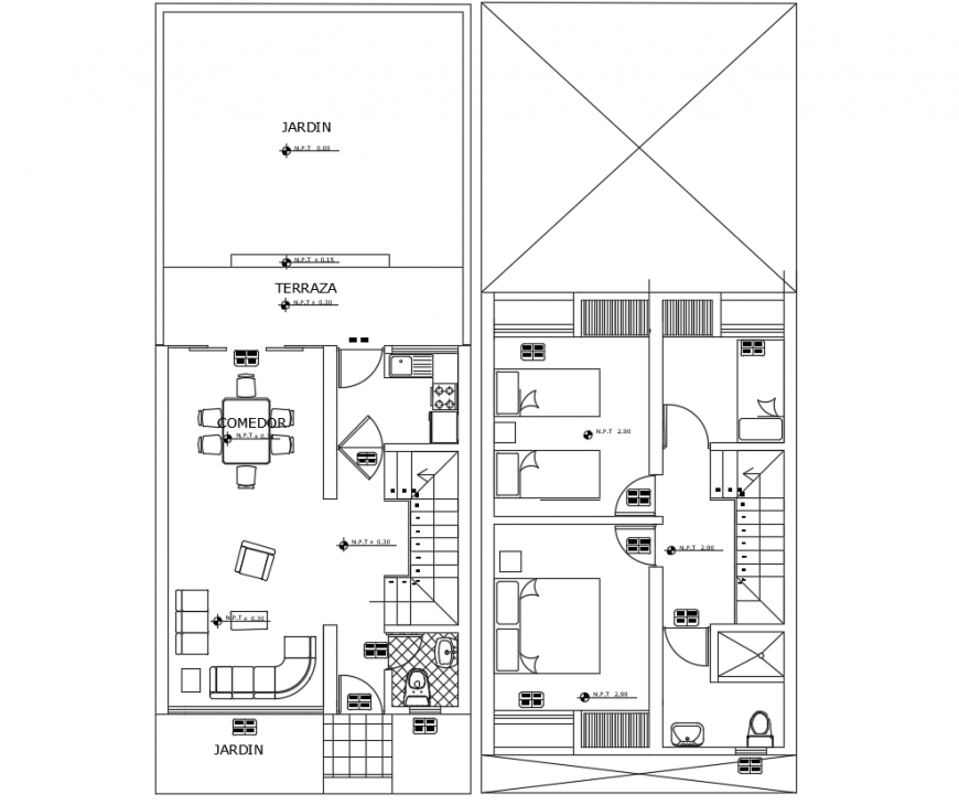 Top view of villa layout plan dwg file