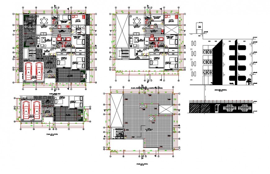 Top view plan and architectural layout of multi family housing
