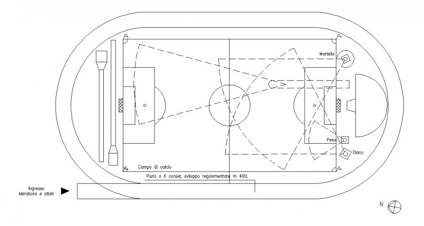 Top view plan of a football court detail dwg file