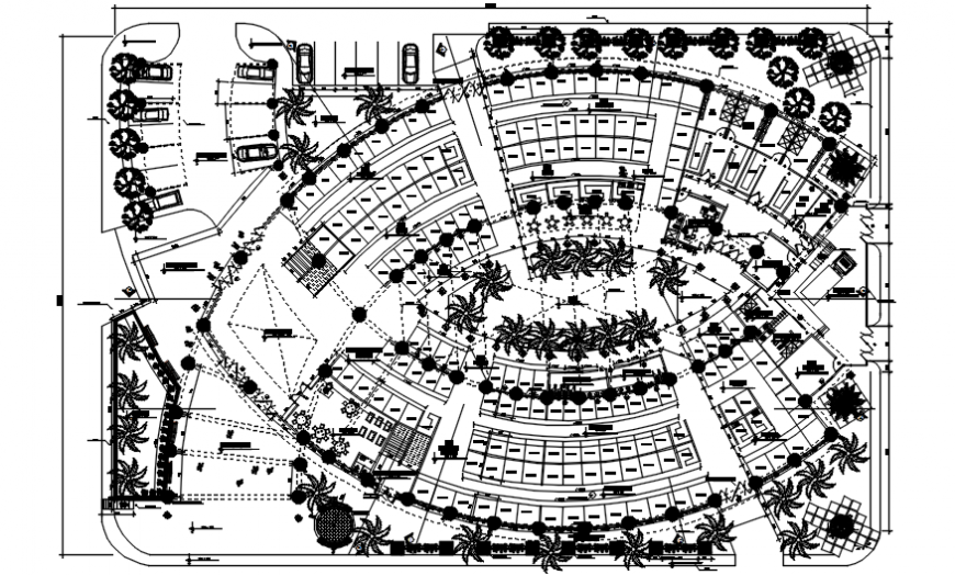 Top view plan of a plaza dwg file