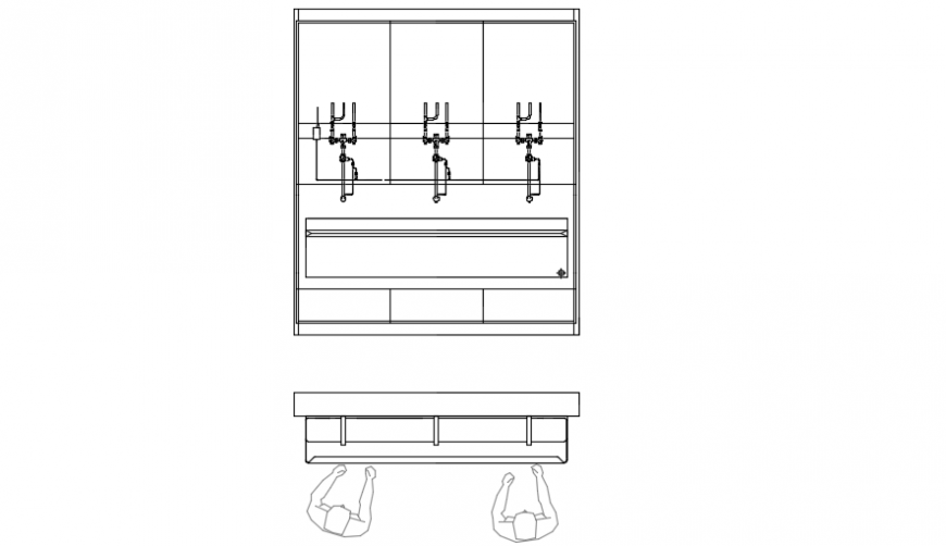 Top view plan of a sink