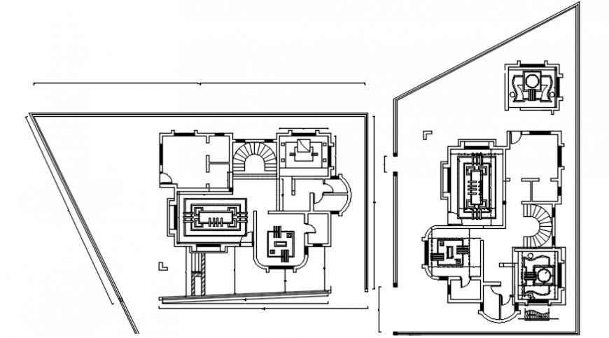 Top view pop design layout of bungalow dwg file