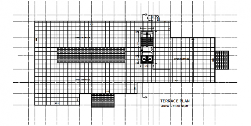 Top view terrace plan of hospital dwg file