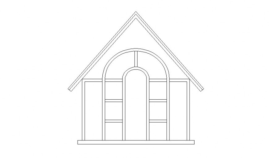 Top window for house main elevation cad drawing details dwg file