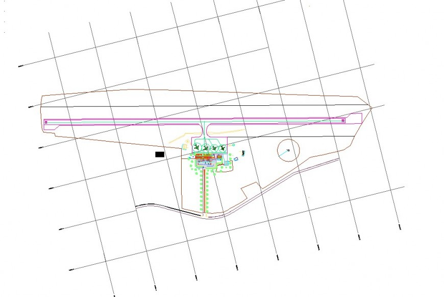 Topographical detail of airport CAD block layout file in autocad format