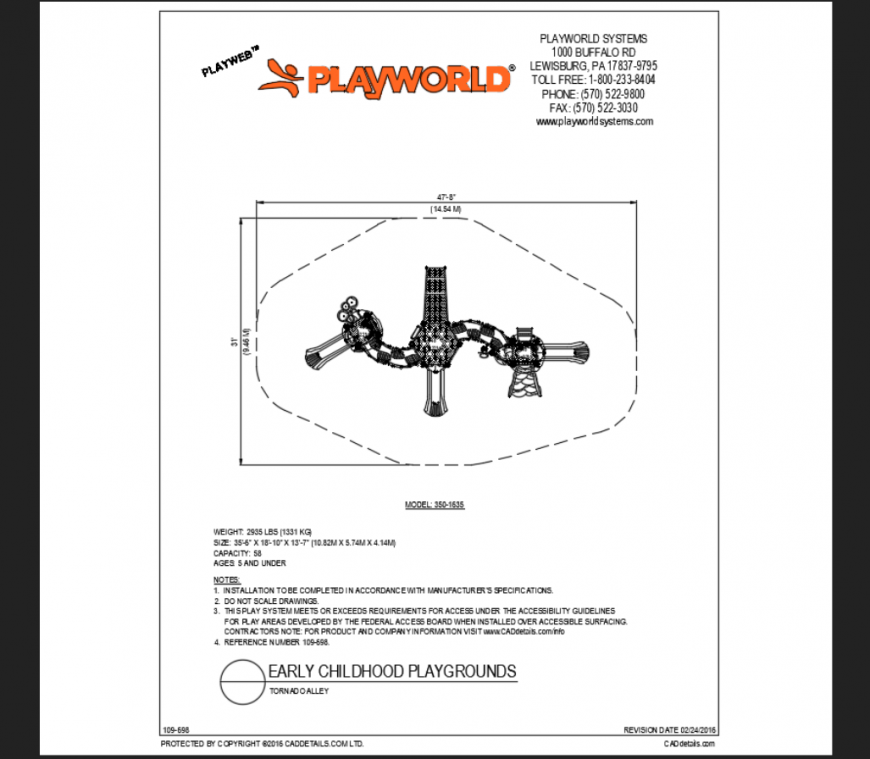Torn adio alley play area play equipment details of early school park dwg file