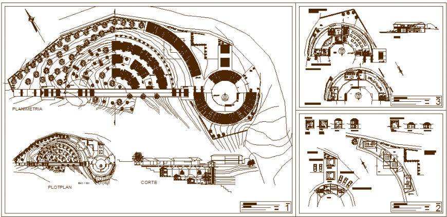 Tourist center plan drawing in dwg file.