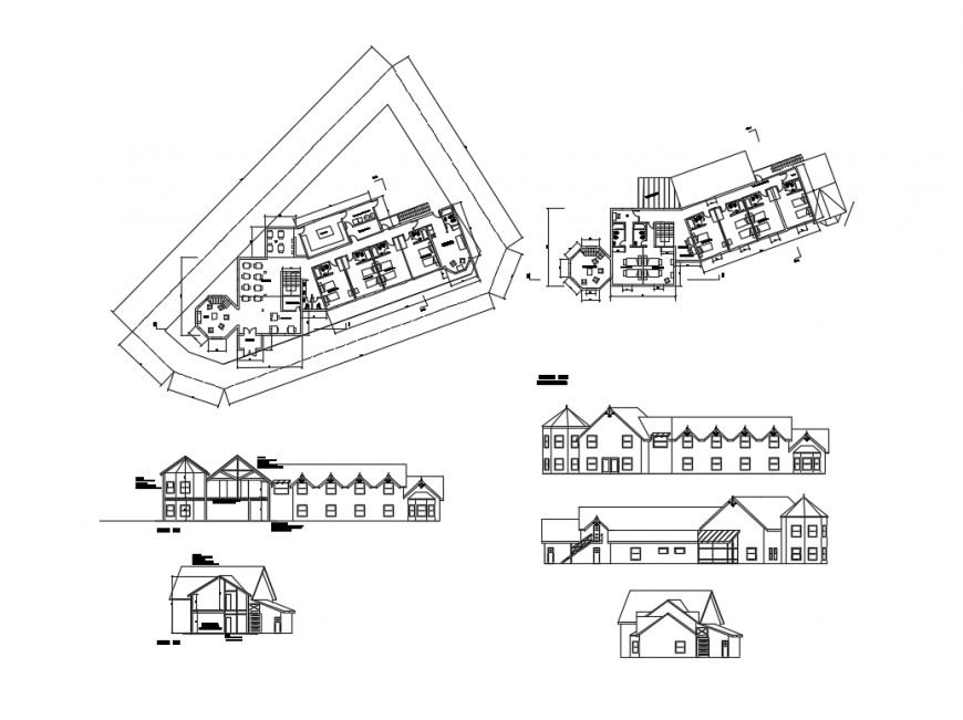 Tourist hostel all sided elevation, section and floor plan layout details dwg file