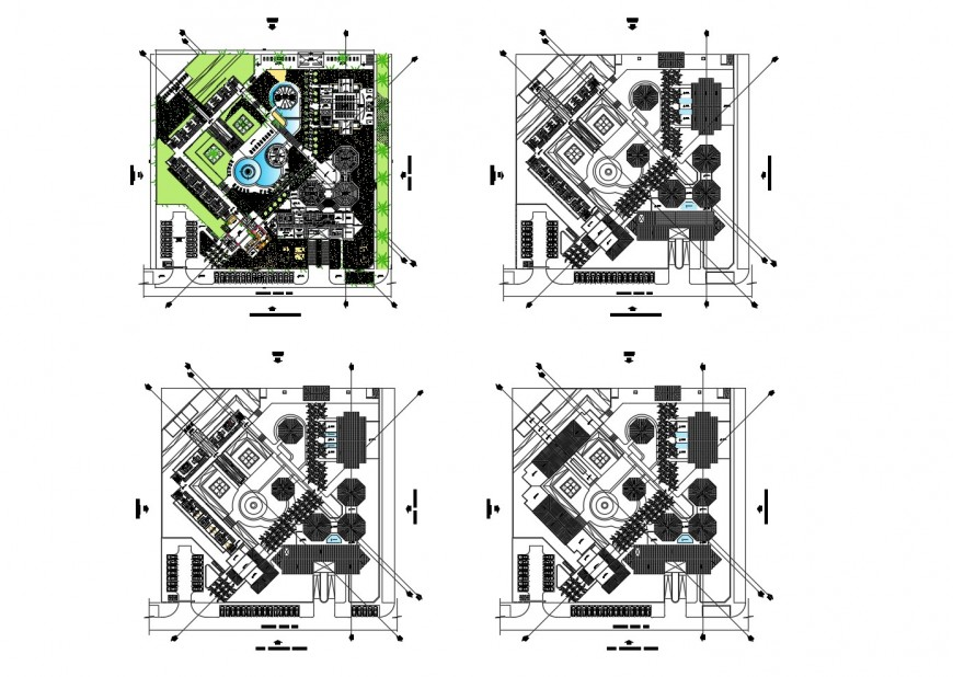Tourist hotel distribution and floor plan cad drawing details dwg file