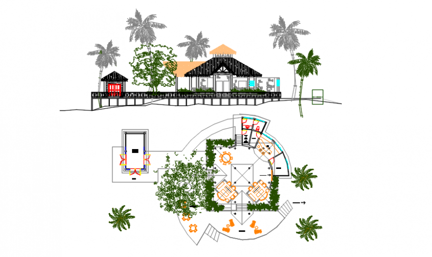 Tourist resort bar plan and elevation in auto cad software