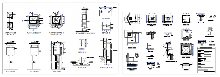 Tower guard booths sectional elevation  detail dwg file