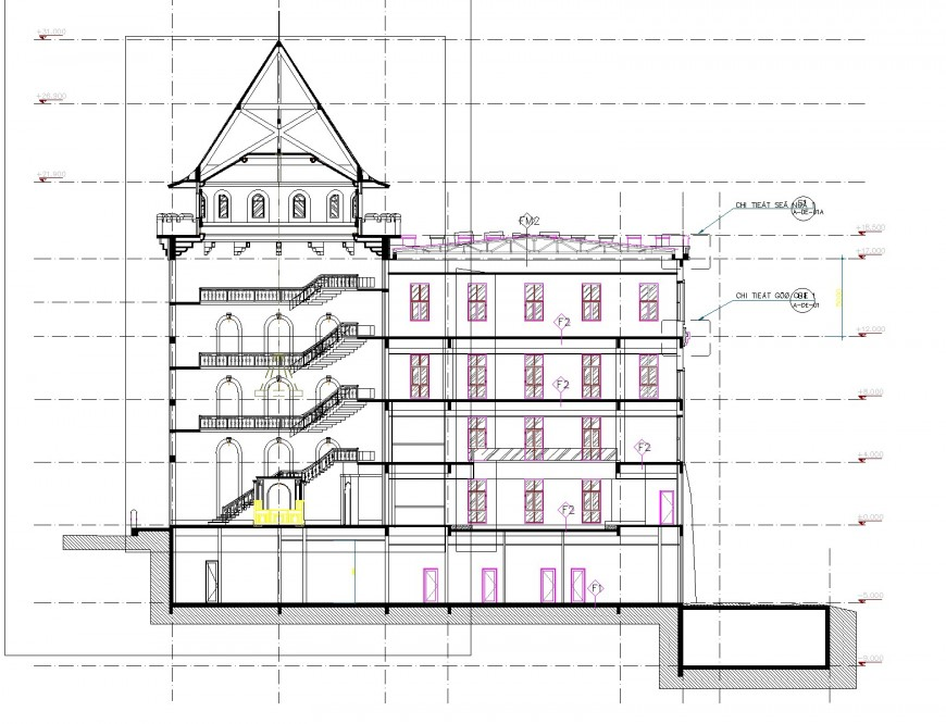 Tower section plan detail dwg file