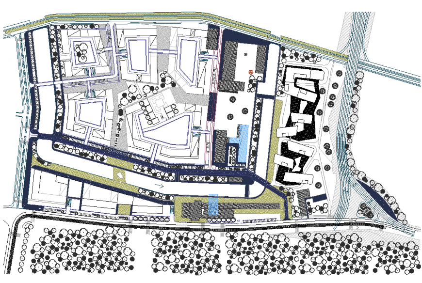 Town area detail 2d view elevation layout file
