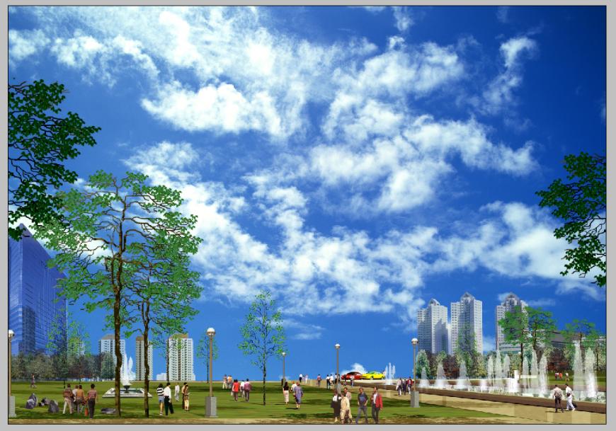 Town park detail elevation Photoshop file