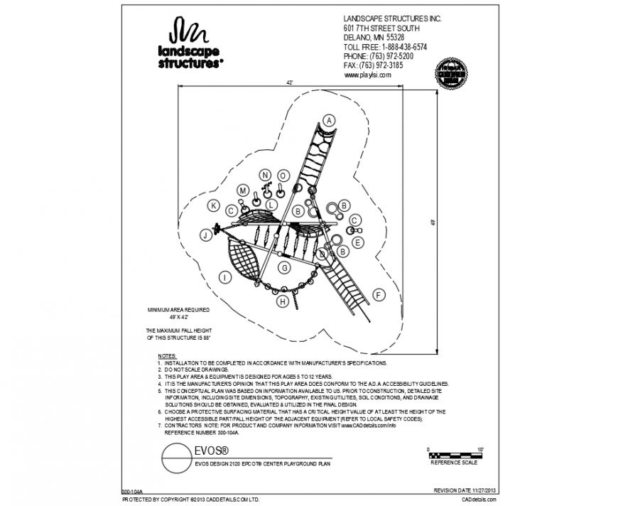 Town park site plan and landscaping details dwg file