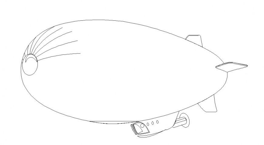 Toy plane front 2d design dwg file