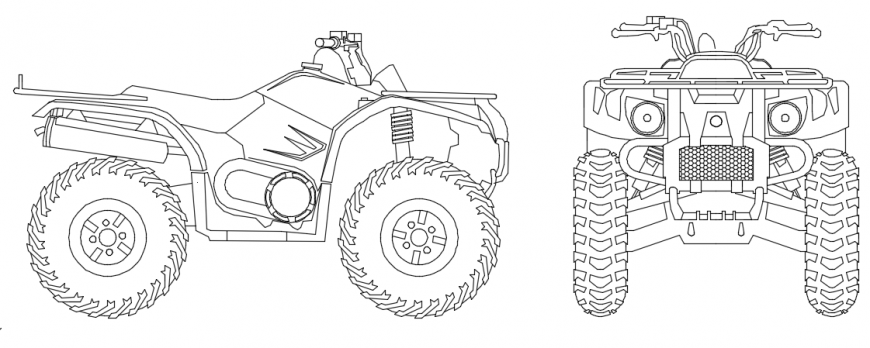 Tractor bike front and side elevation model