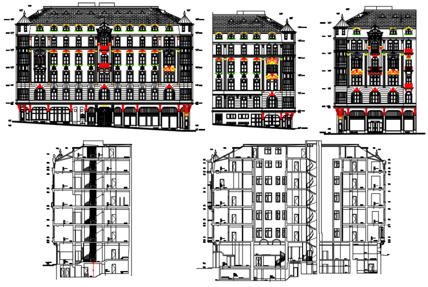 Tradition elevation design of hotel project