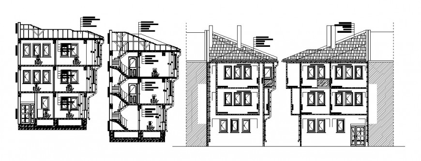 Traditional apartment building all sided section cad drawing details dwg file