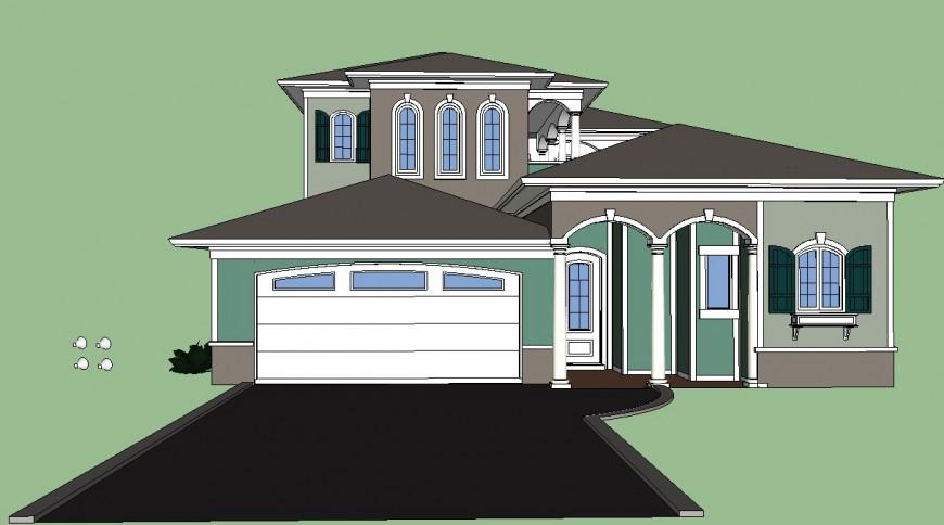 Traditional building 3d design concept
