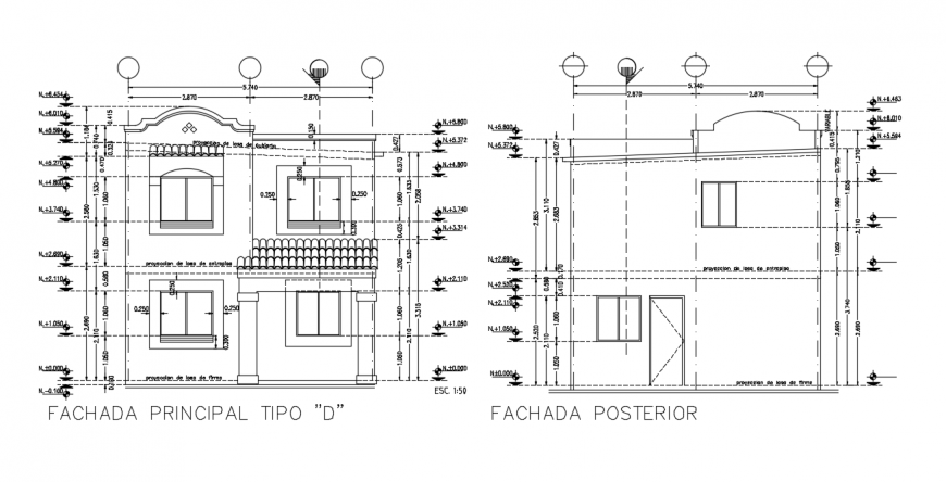 Traditional building concept elevation detail dwg file