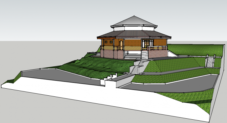 Traditional building on hill area drawing in skp file.