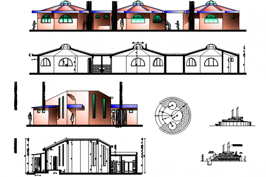 Traditional college elevations and sections drawing details dwg file