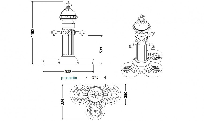 Traditional design of a water pump detailing dwg file