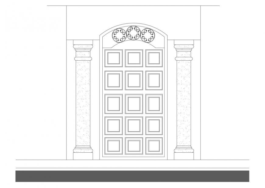 Traditional door front elevation cad block details dwg file