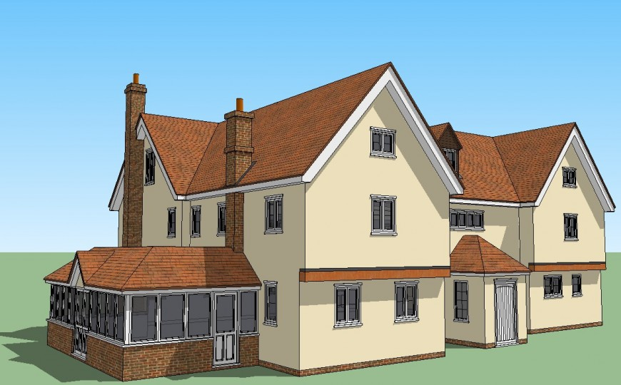 Traditional house 3d elevation detailing