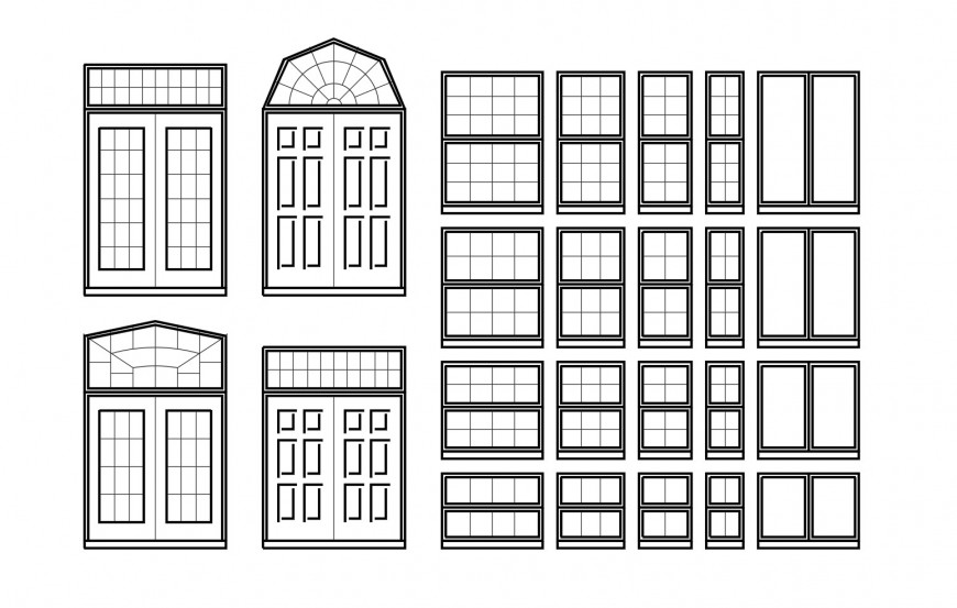 Traditional house doors and windows elevation blocks cad drawing details dwg file