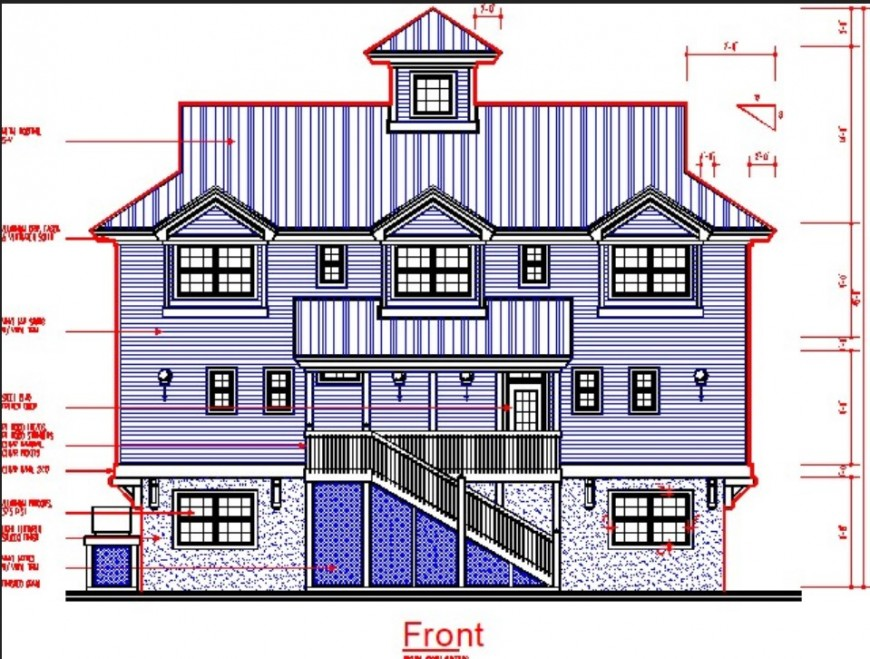 Traditional house front elevation drawing in dwg file.