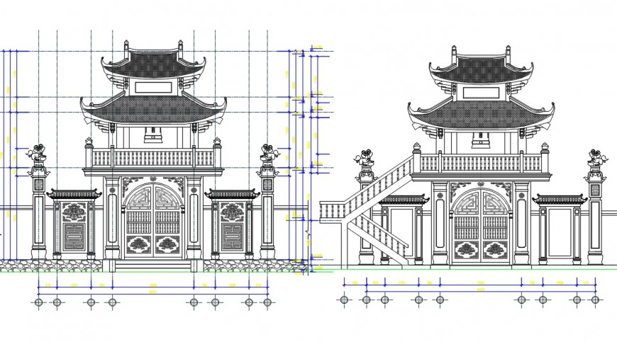 Traditional house main elevation and gate drawing details dwg file