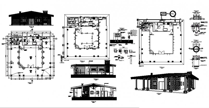 Traditional house plan drawing in dwg file.