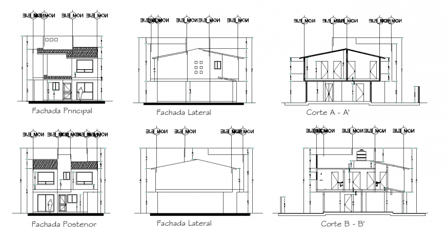Traditional house working drawing in dwg file.
