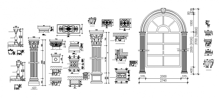 Traditional pillar and windows detail dwg file