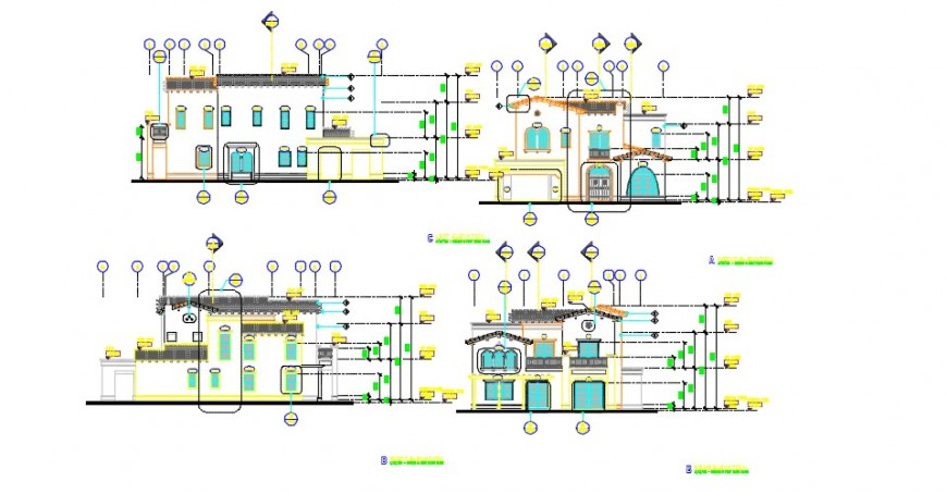 Traditional sectional 2d front elevation dwg file