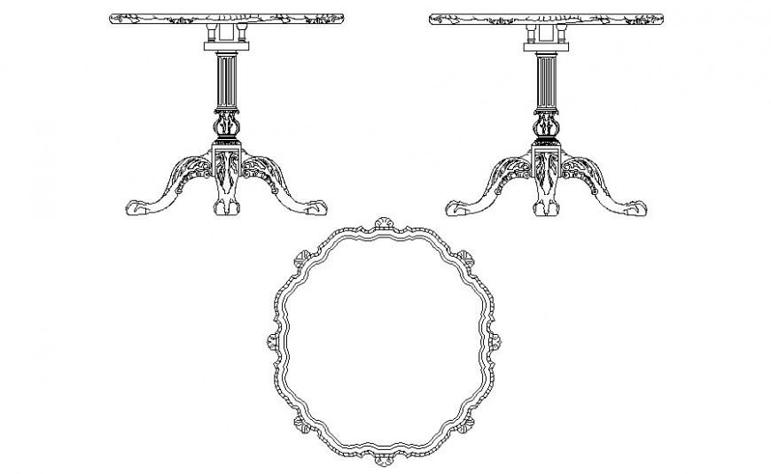 Traditional table elevation 2d drawing in autoacd software