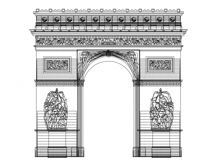 Traditional type garden gate front elevation cad drawing details dwg file